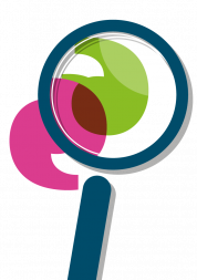Graphic of a magnifying glass over two apostrophes